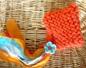 Pixie Hat with Flower, Orange Pixie Hat, Pixie Hat for Babies, Bulky Knit Baby Hat, Knitted Baby Hat, Ribbons and Flowers, Cute Baby Hat