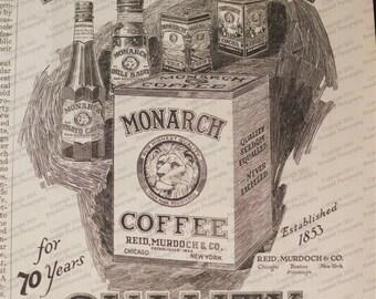 1924 Monarch Coffee Ad Lion Artwork Fun Vintage Look