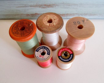 Wood Thread Spools Wood Spools Natural Colors Cotton Thread Sewing Craft Supplies
