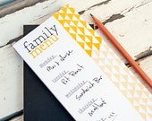 Magnetic Kitchen Note Pad - Geometric Print Menu Design - Weekly Meal Planner