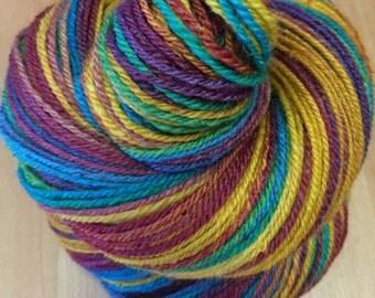 """Handspun Sock Yarn """"Promising Day"""" falkland silk 335 yds."""