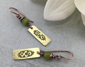 Wire Wrapped Jewelry Handmade Earrings Mixed Metal Earrings Rustic Copper Jewelry Wire Wrapped Jewelry Earrings Artisan Dangle Earrings