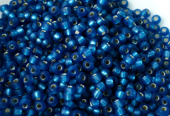 Silver Lined Matte Transparent Cobalt Blue Round Japanese Seed Beads Size 11