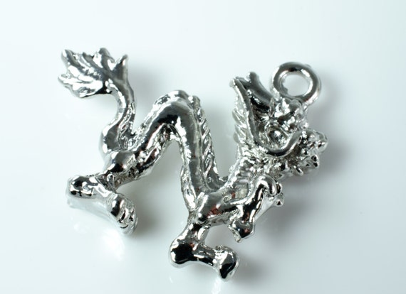 Silver Plate Rampant Dragon Chinese New Year Pendant