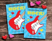 Personalized Classroom Valentine Cards for Kids – DIY Printable – Red Guitar (Digital File)