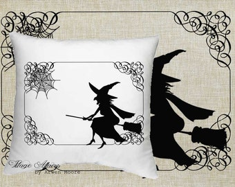 Digital Download Halloween Collection Witch and Spider Web Black & White Image For Papercrafts, Transfer, Pillows, Totes, Etc hd-002
