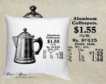 Digital Download Kitchen Collection Vintage Old Tea Pot Black & White Image For Papercrafts, Transfer, Pillows, Totes, Etc va-003