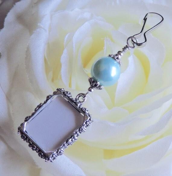 Blue Bridal Bouquet Charm : Wedding bouquet photo charm light blue pearl by