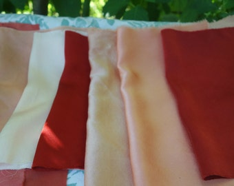 """Madder Dyed Silk Charmeuse 7 Pieces FabricCollection Assorted Shades Red Peach Pink Rust 7"""" x 12"""" to 10"""" x 14 Natural Plant Dyed Art Fabric"""