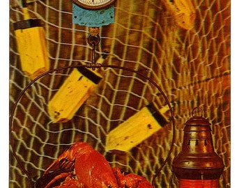 Vintage Shore Dinner 3D Postcard, USA, unused.