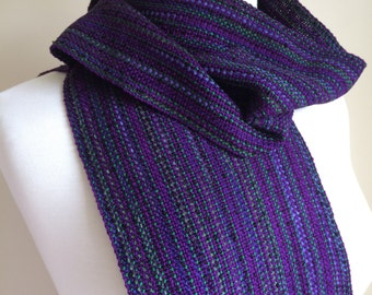 Amethyst and emerald scarf handwoven from rayon chenille, boucle, cotton.