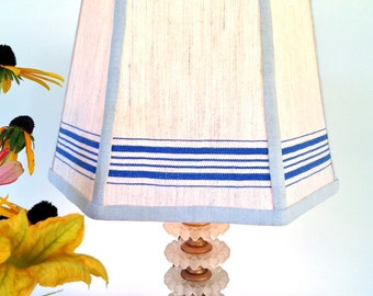 Blue Lamp Shade Nautical Lampshade Stripe Vintage Mangle Cloth, Small Shade 7x10x7 clip Hex - Handmade Lampshade, Easy clip top
