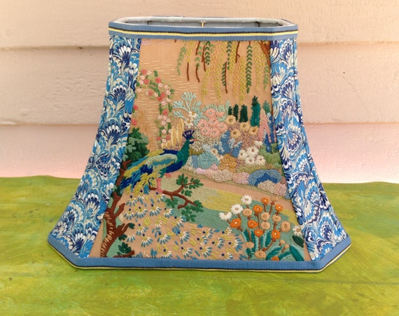 Peacock Lamp Shade Rectangle Lampshade Vintage Uk Embroidery