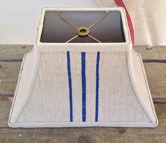 rectangle lampshade lamp shade blue stripe grain sack vintage. Black Bedroom Furniture Sets. Home Design Ideas