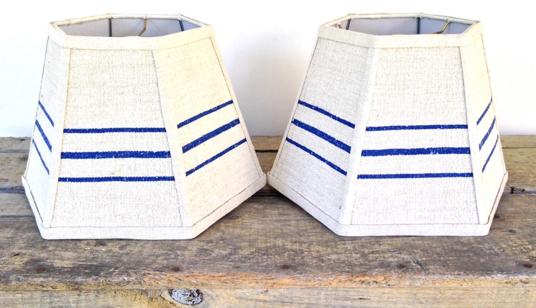 lamp shade grain sack lampshades blue stripe vintage linen. Black Bedroom Furniture Sets. Home Design Ideas