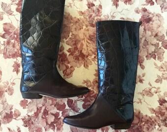 Vintage Jacqueline Ferrar 2 Tone 80s Riding Boots Size 7.5
