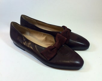 Vintage Pappagallo Flats Shoes Brown Leather With Bow Accent 8.5