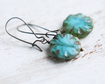 Beaded Earrings - Aqua Sunburst
