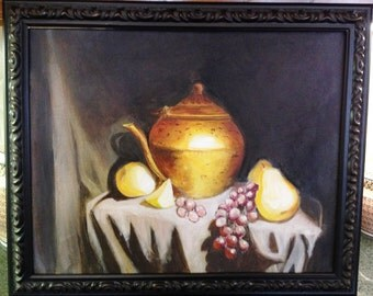 16 x 20 Original Fruit & Copper Pot Still Life Painting on Stretched Canvas