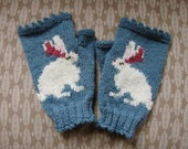 Bunny fingerless mitts with picot edges - denim blue wool