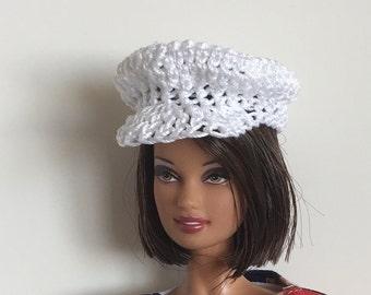 Barbie Ken Handmade Clothes White Newsboy Hat Crocheted (SS2003)