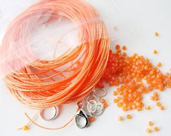 Micro Macrame Bracelet Bead and Cord Kit for Leaves Tutorial DIY Orange Sherbet