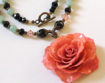 Large Real Rose Necklace - Pink, Statement Necklace, Flower Necklace, Real Flower Jewelry, Nature Jewelry, Aqua, Black