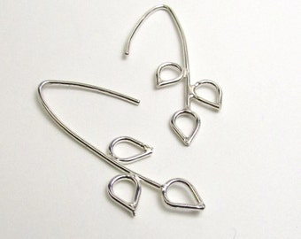 Sterling Silver Nature Silhouette Wire Earrings - Branch