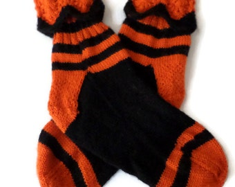 Socks - Hand Knit Women's Halloween Socks - Size 7-9 - Holiday Socks