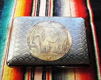 Elephant Etched Wallet / Cigarette Case in Tribal Patterned Metal -- Acid Bath Series
