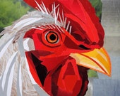 The Rooster of Crowsville, 5x7 inch ORIGINAL COLLAGE ART