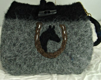 Felted wristlet, felted clutch, small felt bag, horse art,