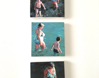 Swim at the beach with Grandma/ 3 Tiny canvas prints / Print of Original acrylic paintings-Digital print -mounted print - wall hanging