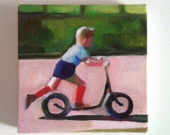 Boy on scooter/ Tiny canvas print -mounted print - children wall art print