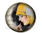 "SALE - Pocket Mirror, Magnet or Pinback Button - Wedding Favors, Party themes - 2.25""- Vintage 1920s Touch Up MR157"