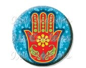 "BIG SALE - Pocket Mirror, Magnet or Pinback Button - Wedding Favors, Party themes - 2.25""- Hamsa Symbol MR438"
