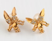 Trembler Bee Pins Vintage Pearl Body Flying Bugs Fly Figural Trembler Wings with Clear Rhinestones