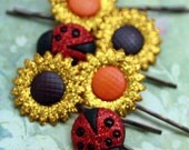 Sunflower and Lady Bug Glittering Brights Set of 6 Antique Copper Bobby Pins