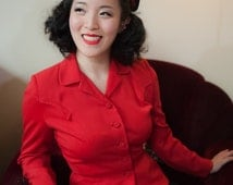 Vintage 1940s Jacket - Sharp Lipstick Red Wool 40s Blazer with Nipped Waist and Shoulder Details
