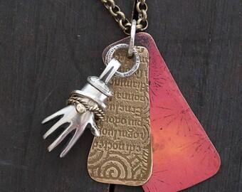 3 Metals Sculpted Hand Talisman Pendant