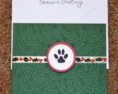 Paw print dog cat animal Christmas holiday holly card set of 8 Dachshund