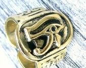 Brass Vintage Egyptian Eye Of Horus Ra Udjat Ring Hand Crafted Artisan Adjustable Jewellery