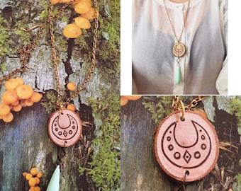 Wood Burnt Crescent Moon Necklace