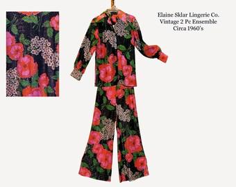 1970's Elaine Sklar Lingerie Set/ Vintage Pants Top/ Hostess Pants Blouse/ Bell Bottom Pants/ Hippie Pants/ Retro
