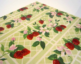Vintage 1970's All Occasions Wrapping Paper | Red Green Gift Wrap | Strawberries Strawberry