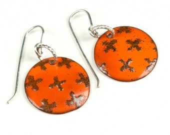 Tangerine orange enameled earrings, Enamel dome art jewelry earrings