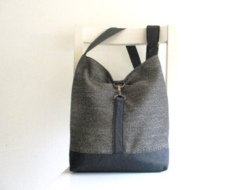Grey Fabric and Black Vegan Leather Messenger with an adjustable Strap