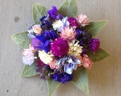 All real dried flower boutonniere or pin corsage. For wedding or special event.