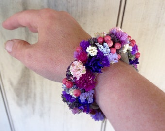 All real dried flower wrist corsage, bracelet cuff or wristlet for your wedding or special event.