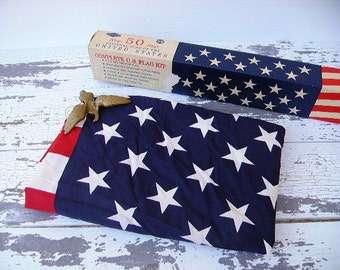 U.S. American Flag ~ 100% Cotton Flag Kit ~ 3 x 5 ~ 50 Star Flag in Original Box ~ Goodyear ~ 1960s
